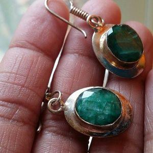 Emerald earrings sterling silver new jewelry